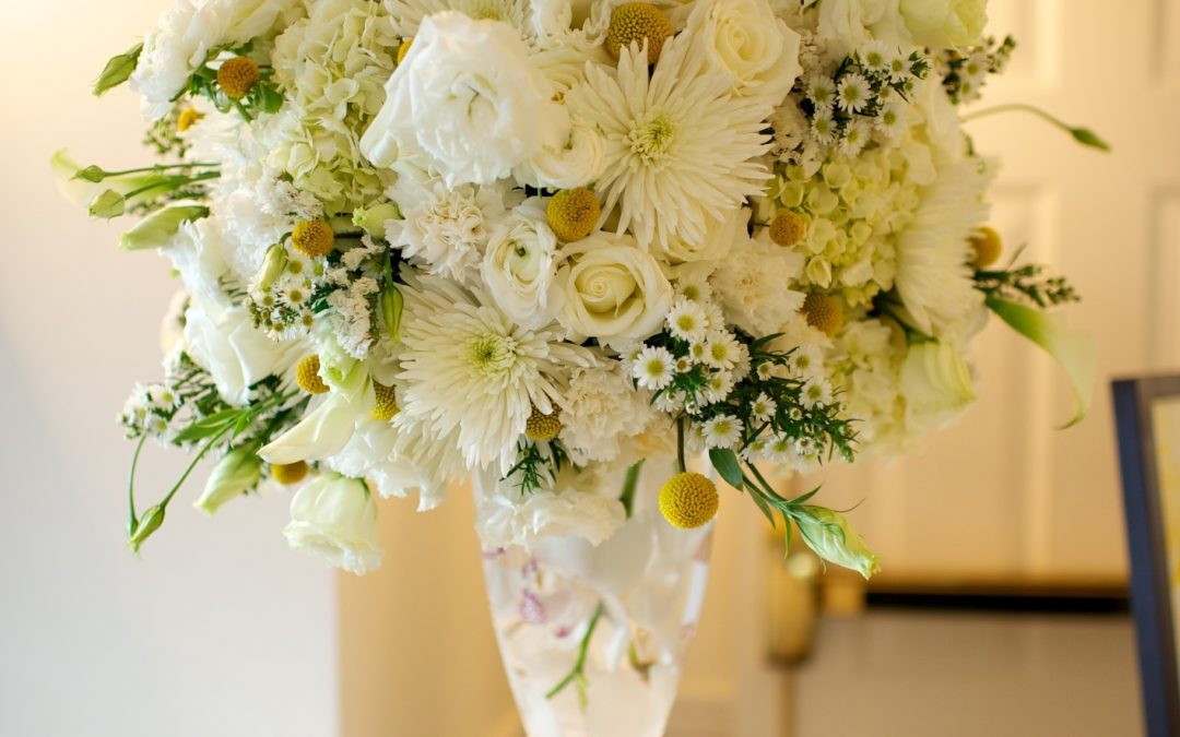 White tall arrangement with yellow pops of color maine weddings white tall arrangement with yellow pops of color mightylinksfo Gallery