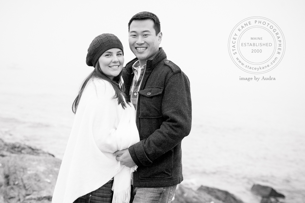 Oceanside engagement photos, Maine coastal engagement photos