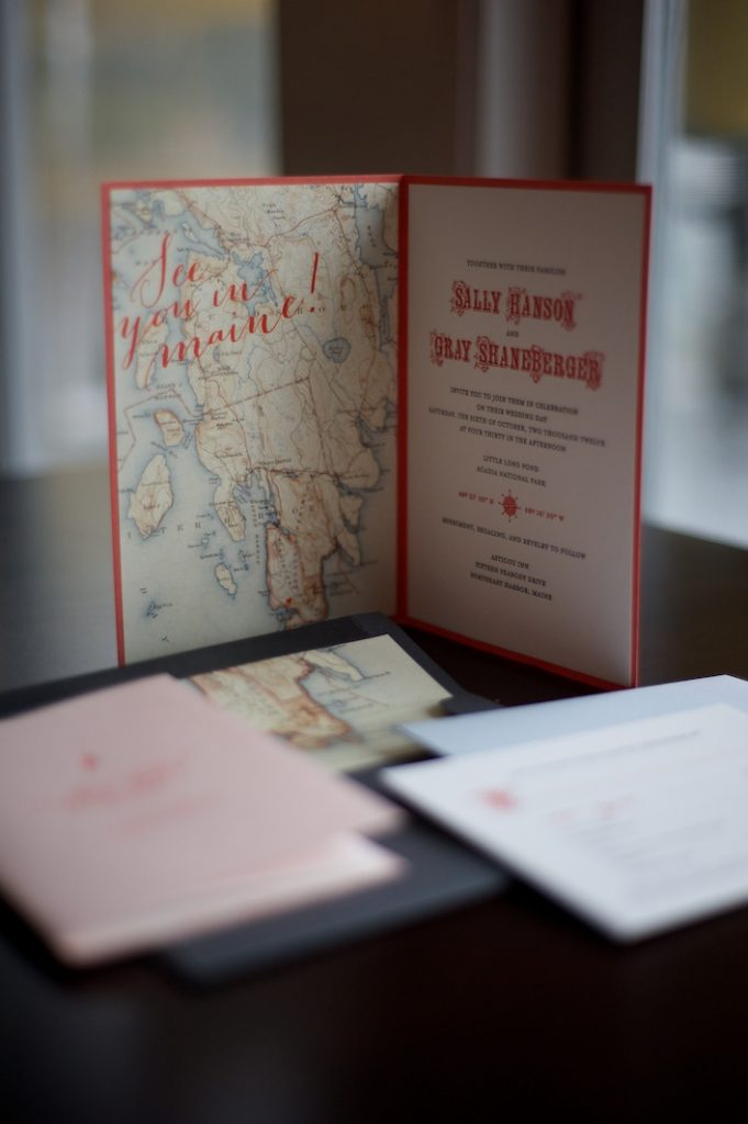 Gus & Ruby Letterpress, vintage invitations, map inspired invitations