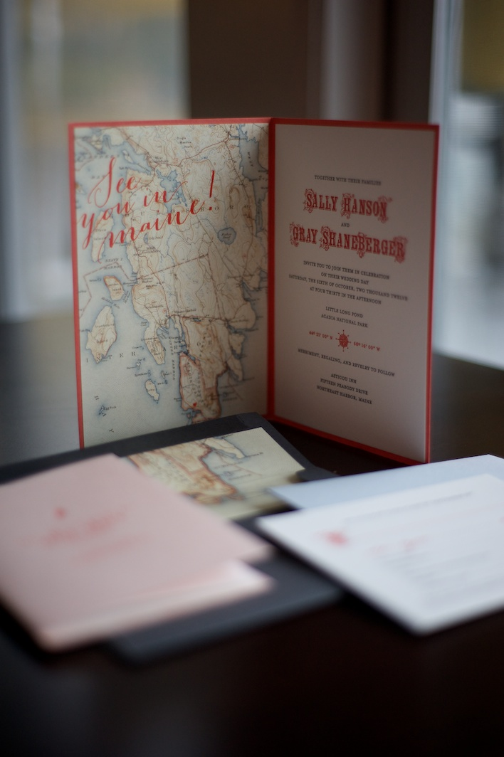 Stationary, Gus & Ruby Letterpress, Wedding Stationary, Custom wedding invitation, Maine Destination wedding