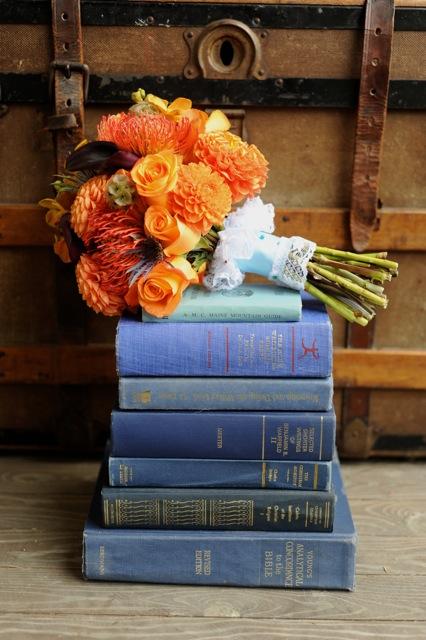 orange flowers, dahlias, roses, pin cushion flowers