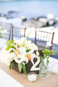 Luxury Maine wedding planner, Luxury Maine Wedding, Maine wedding, York Maine wedding, Coastal Maine Wedding, Private residence home, backyard weddings, burlap wedding, wooden box with lilies, white lily wedding, all white flowers
