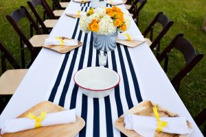 Navy striped runner,vintage enamelware, Camden Maine wedding, Maine wedding designer, pops of yellow
