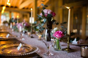 gold candlesticks, glass chargers, copper vessels, Camden maine wedding, sweetest thing weddings