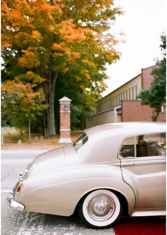Maine Limo, Vintage Car, Maine weddings, Destination Maine wedding, Fall wedding, Bentley, wedding tranportation