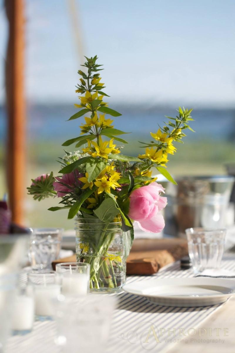 mason jar of wildflowers