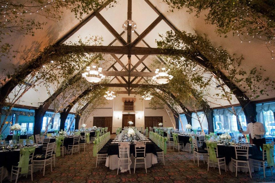 Bar Harbor Maine Ballroom Wedding Black And White Pop Of Lime